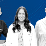 From left: Penn State Schuylkill students Mike Russell and Grace Muench, and Lee Silverberg, associate professor of chemistry.