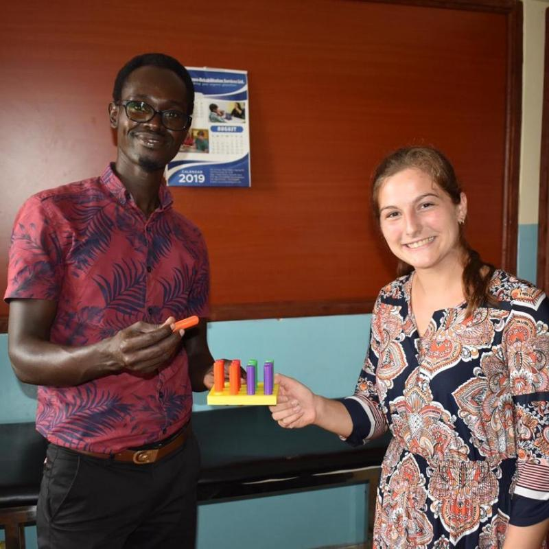 Lucy Spicher, right, is pictured with a Kenyan occupational therapist.